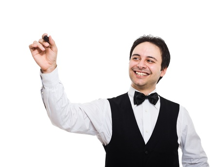 busboy: Portrait of a smiling waiter writing on the screen. Isolated on white