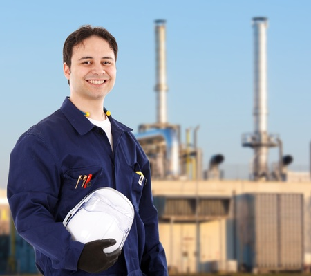 mechanical works: Portrait of a young handsome worker Stock Photo
