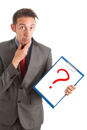 Funny businessman showing a question mark Stock Photo - 16129619
