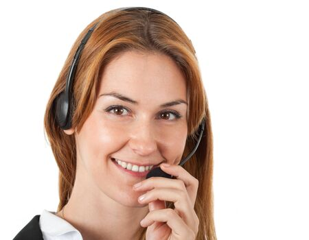 call us: Portrait of a beautiful customer representative at work Stock Photo