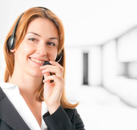 Portrait of a beautiful girl with headset Stock Photo - 16129459