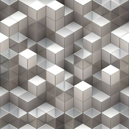 Abstract seamless background made of white and transparent cubes
