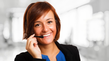 technical service: Portrait of a beautiful customer representative at work Stock Photo
