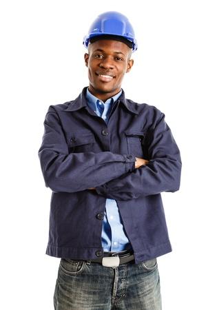 industrial mechanics: Retrato de un ingeniero sonriente aislado en blanco Foto de archivo