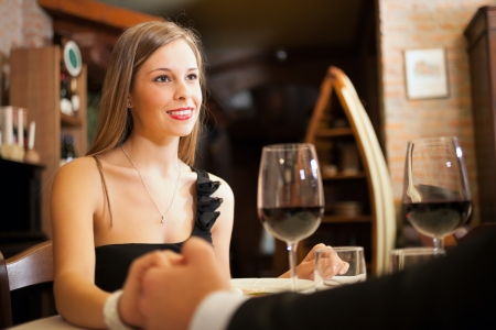 exclusive: Couple having a date in a luxury restaurant
