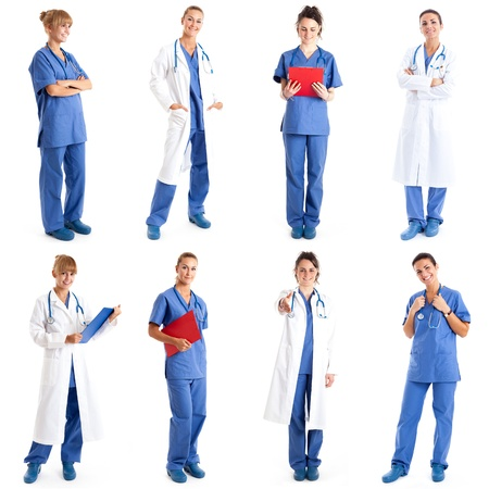 Collection of full length portraits of female medical workers photo