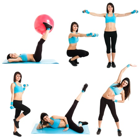ball stretching: Beautiful woman doing fitness exercises