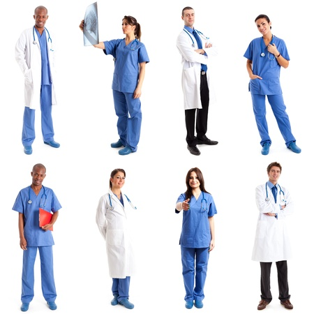Collection of full length portraits of medical workers Stock Photo - 16599312
