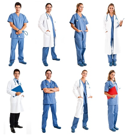 happy doctor woman: Collection of full length portraits of medical workers