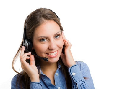 contact us: Portrait of a gorgeous woman using an headset