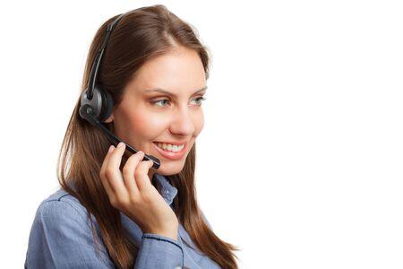 sexy headphones: Portrait of a beautiful customer representative