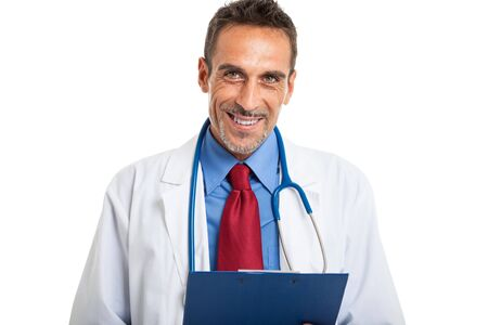 patient's history: Detail of a doctor holding a patients case history