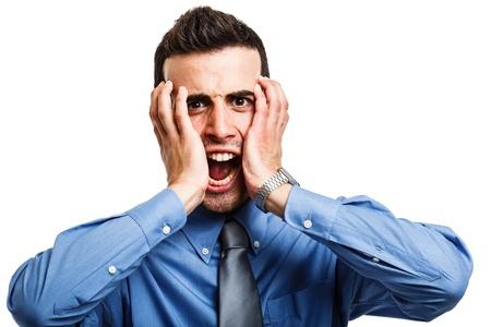 insane: Portrait of a screaming businessman Stock Photo