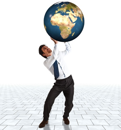 sustain: Businessman trying to sustain the weight of the world Stock Photo