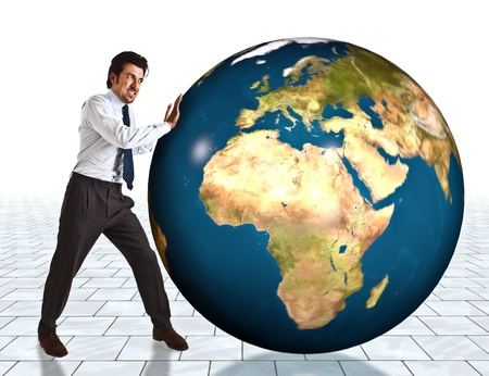 expansion: Businessman trying to make the world go round