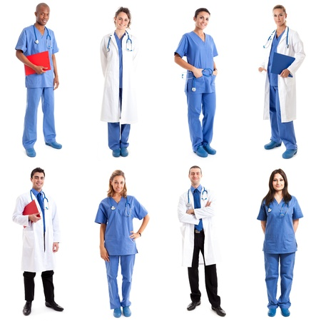 health collage: Collection of full length portraits of medical workers