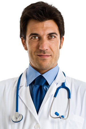 oncologist: Portrait of an handsome doctor  Isolated on white Stock Photo