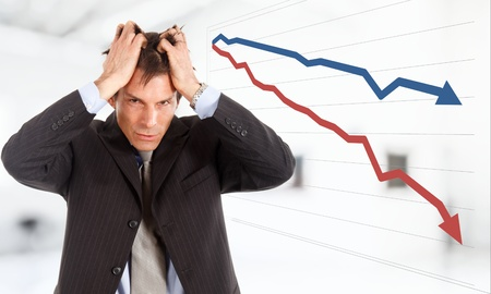 and decline: Desperate businessman, financial crisis concept