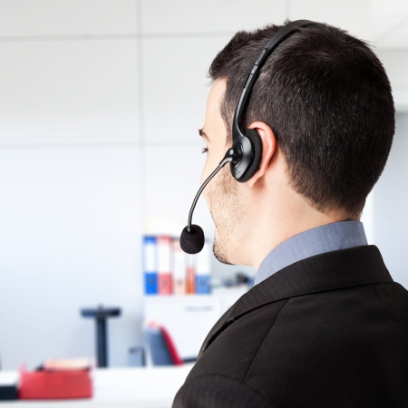 contact center: Portrait of a customer representative at work