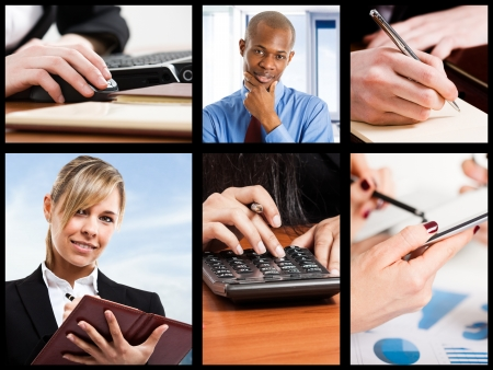 Composition representing active people at work Stock Photo - 17340831