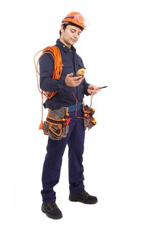 trabajador petroleros: Retrato de cuerpo entero de un trabajador manual