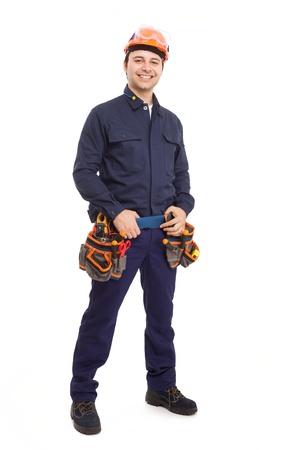 obreros trabajando: Retrato de cuerpo entero de un trabajador manual
