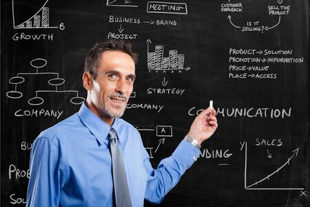 Businessman showing business concept on a blackboard photo