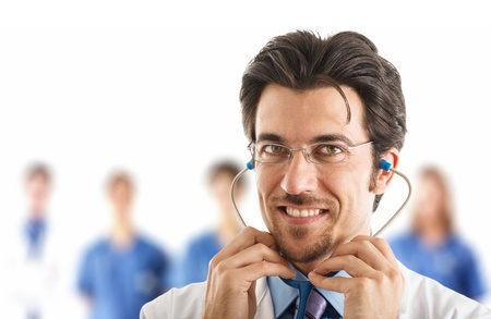 Portrait of a doctor wearing his stethoscope Stock Photo - 17340773