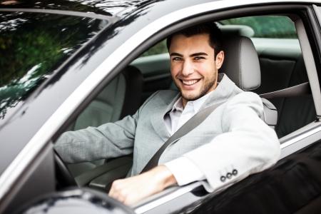 upkeep: Man driving his car Stock Photo