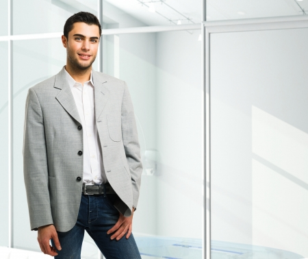 casual office: Handsome young business man portrait Stock Photo