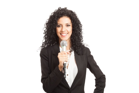 newsreader: Woman talking on the microphone