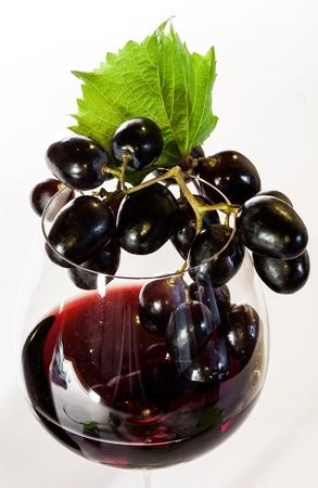 cabernet sauvignon: Grapes in a red wine glass