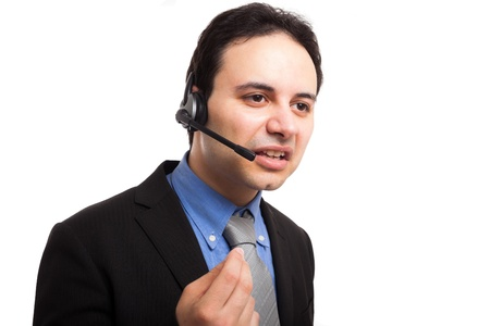 Portrait of an arrogant employee at work  Isolated on white Stock Photo - 17575465