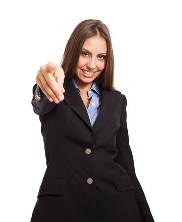 Businesswoman pointing her finger to you photo