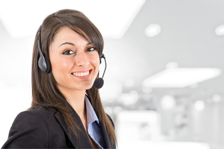 call girl: Portrait of a beautiful girl with headset Stock Photo