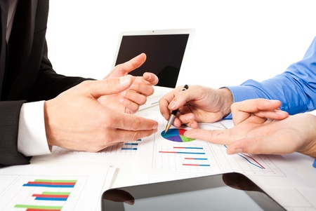 business analysis: Business people at work during a meeting Stock Photo