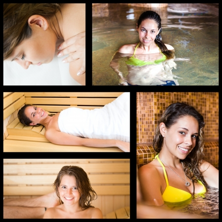 Composition of people relaxing in a spa photo