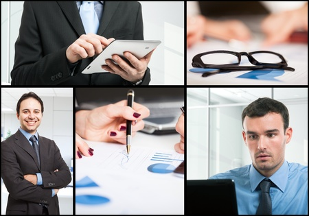 Composition of business people at work Stock Photo - 17792261