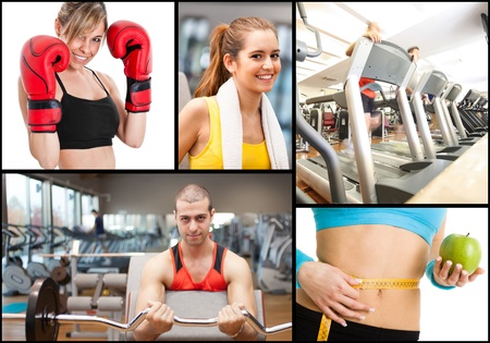 Composition of fitness themed images photo