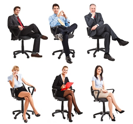 mujer cuerpo entero: Colecci�n de retratos de cuerpo entero de la gente de negocios sentado en una silla Foto de archivo