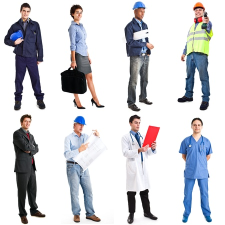 full length woman: Collection of full length portraits of workers Stock Photo
