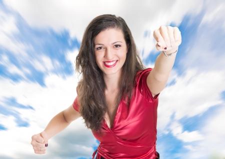 飛ぶしようとしている女性の肖像画 写真素材