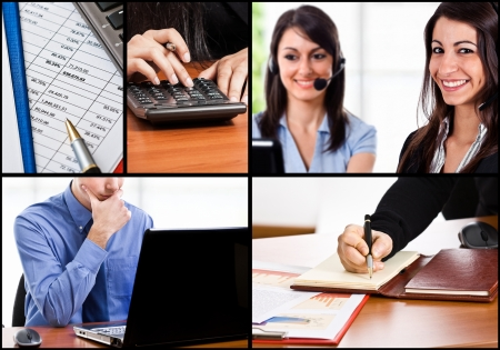 Composition of business people at work Stock Photo - 18466260