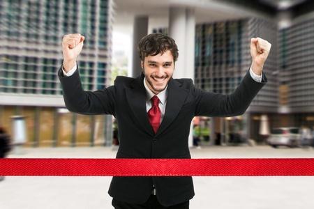 job promotion: Portrait of an active businessman running
