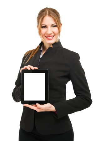 Portrait of a beautiful woman holding a tablet computer photo