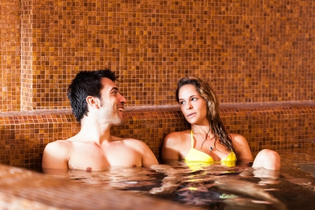 love hot body: Beautiful couple doing a bath in a spa