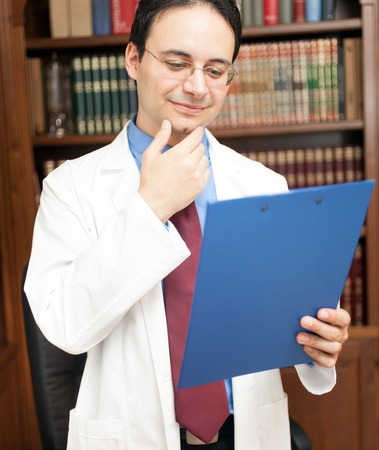 pathologist: Portrait of a successful specialist in his office