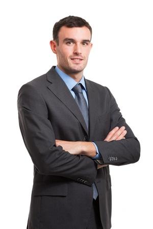 Portrait eines lächelnden jungen Geschäftsmann. Isoliert auf weißem