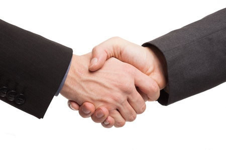 Business men shaking hands. Isolated on white