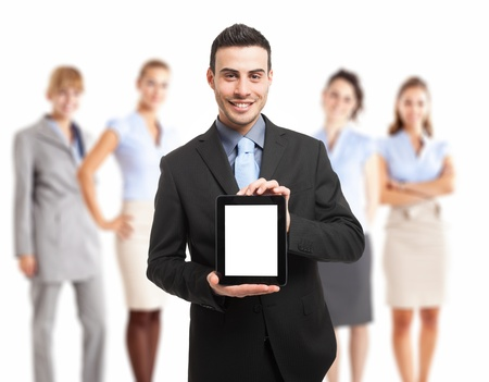 Man showing a tablet pc Stock Photo - 18525072